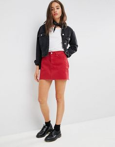 Discover new clothes and latest trends in women's clothing at ASOS. Shop the newest women's clothes, dresses, tops, skirts and more. Order now at ASOS. Red Skirt Outfits, Red Denim Skirt, Red Skirts, Short Skirts, Mini Skirts, Latest Fashion Clothes, Fashion Outfits, Fashion Online, Outfits