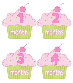 Baby Month Stickers Girl Monthly Onesie Stickers Hot Pink and Green Cupcake Stickers Month Stickers Baby Shower Gift  Photo Prop Avery. $12.00, via Etsy.