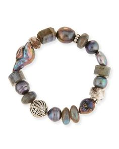 Pearl+&+Labradorite+Bracelet+by+Stephen+Dweck+at+Neiman+Marcus.