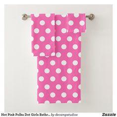 Hot Pink Polka Dot Girls Bathroom Bath Towel Set
