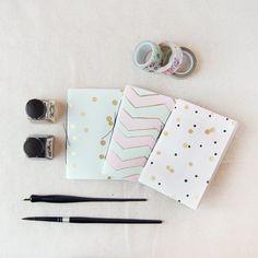 Mint, Pink, Black & Gold Polka Dot/ Chevron Hand Bound Pocket Notebooks, Handmade Notebook, Wedding Favor, Jotter, Sketchbook