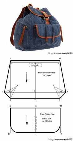 Do-it-yourself fabric backpack pattern- Рюкзак из ткани своими руками выкройка Do-it-yourself fabric backpack pattern, # pattern # hands # your # t - Jean Crafts, Denim Crafts, Denim Backpack, Denim Bag, Denim Handbags, Backpack Pattern, Back Bag, Denim Ideas, Diy Handbag