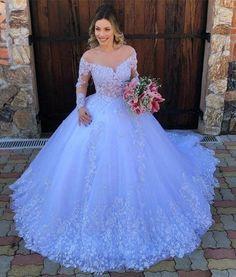 Crystal Wedding Dresses, Fancy Wedding Dresses, White Wedding Gowns, Wedding Gowns With Sleeves, Long Sleeve Wedding, Princess Wedding Dresses, Gorgeous Wedding Dress, Bridal Dresses, Gown Wedding