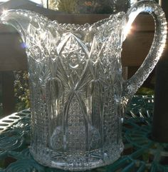 Vintage EAPG Early American Pressed Glass Pattern Water Pitcher Milk Clear