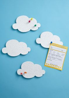 Cloud Pin Boards- easy DIY project to just cut out cork board and paint it white - consider this for Library Suggestion Board or Users to share the quotations from their reading!
