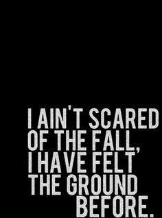 I ain't scared of the fall, I have felt the ground before.
