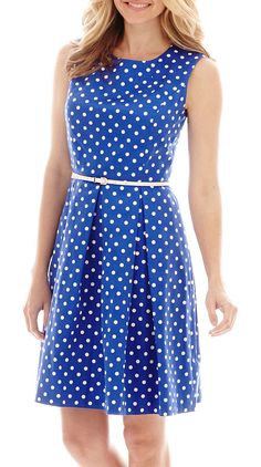 $39, Blue Polka Dot Skater Dress: Liz Claiborne Sleeveless Belted Polka Dot Fit And Flare Dress. Sold by jcpenney. Click for more info: https://lookastic.com/women/shop_items/269578/redirect