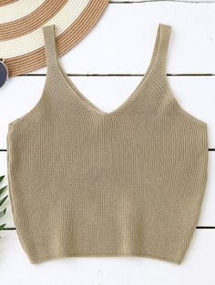 SHARE & Get it FREE | Knitting Cropped Tank Top - Dark KhakiFor Fashion Lovers only:80,000+ Items • New Arrivals Daily Join Zaful: Get YOUR $50 NOW!