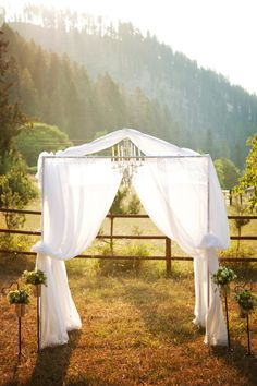 rustic outdoor ceremony.  Love this.