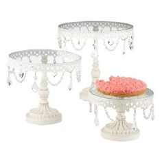 Set of Three White Iron and Glass Cake Stands, could make great displays for knick knacks or jewelries!