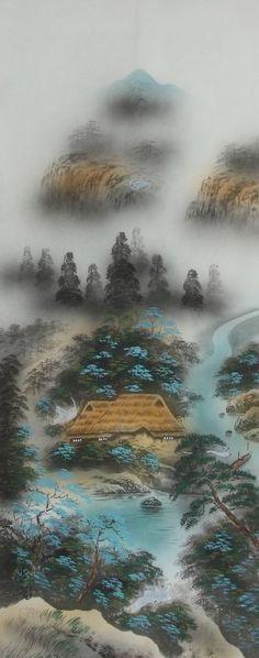 Japanese hanging scroll Landscape painting Written on silk Wall art hsky1-211