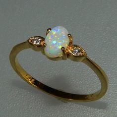 Sehr schöner feiner Gold Ring mit Edel - Opal & 2 Brillanten - S4363