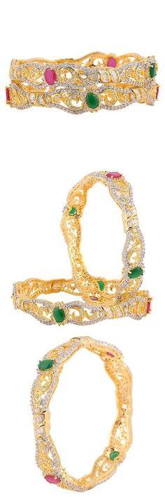 Bracelets 98509: Swasti Jewels Statement Colourful Zircon Stone Fashion Jewelry Bangle Set For... -> BUY IT NOW ONLY: $69.94 on eBay!