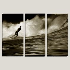 """Love & Devotion"" - Playa Escondida Costa Rica, Surf Decor, Triptych Canvas Art by Joelle Joy"