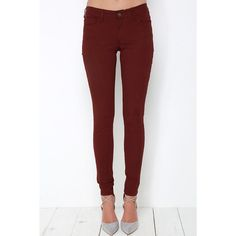 Take a Walk Burgundy Skinny Jeans ❤ liked on Polyvore featuring jeans, white denim skinny jeans, white stretch skinny jeans, tapered jeans, white jeans and low rise white skinny jeans