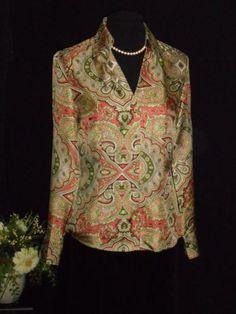 be9c0e14a3c074 Details about USA 8 Silk Blouse Empire Surplice Pintuck Pleats Ann ...