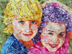 Custom portrait - collage by Schimmel Art (Sandhi Schimmel Gold); made with junk mail and advertisements Face Collage, Collage Portrait, Mosaic Portrait, Collage Art, Portraits, Paper Mosaic, Mosaic Art, Tile Mosaics, Collages