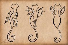 Winged_cats_trio_tattoo Ideas_design - http://tattooideastrend.com/winged_cats_trio_tattoo-ideas_design/ - #Design, #Tattoo, #Trio