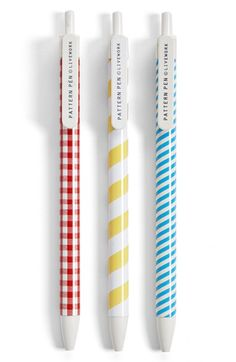 Poketo 'Pattern' Fine Tip Retractable Ballpoint Pens (Set of 3) | Nordstrom
