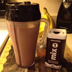 Post Intense Cardio Protein Smoothie ~ Chocolate Mix1 Protein, Greek Yogurt, Flax Seed & a Scoop of Peanut Butter! Yummy!