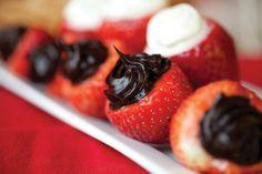 Cheesecake and Chocolate Stuffed Strawberries Recipe Idea.