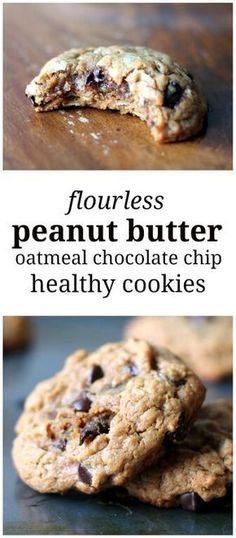 Thick, chewy peanut butter oatmeal chocolate chip cookies made without butter or flour. Delicious! (Blender Muffin Pb2)
