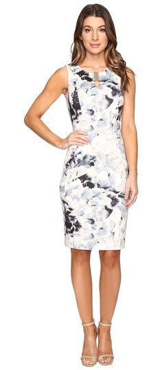 Calvin Klein Printed Sheath w/ Hardware Dress (Latte/Soft White Combo) Women's Dress - Calvin Klein, Printed Sheath w/ Hardware Dress, M6KBY913-249, Apparel Top Dress, Dress, Top, Apparel, Clothes Clothing, Gift, - Fashion Ideas To Inspire