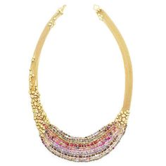Natasha Collis Collar Statement necklace in yellow gold, with hand-melted gold nuggets interwoven and moulded along the chain, rubies, pink sapphires, brown diamonds, blue sapphires, rose quartz, grey sapphires, peach sapphires and pink spinel.