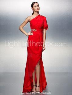 Prom/Formal Evening Dress - Ruby Sheath/Column One Shoulder Asymmetrical Chiffon 2015 – $149.99
