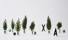 Merry Christmas decoration made of our AJ Vintage ABC porcelain and mini Christmas Trees.