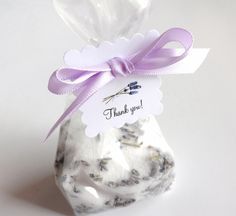 10 Lavender Bath Salt Favors, Bridal Shower, Wedding Favor, Birthday Party Favor, Baby Shower, with Thank You Tag