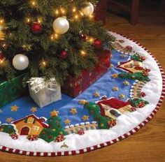 Mary Engelbreit Christmas Village Felt Tree Skirt