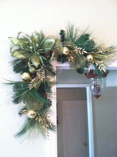 Green & Gold Christmas Swags for Door Frames, Mirrors, Mantels and More......by Greatwood Floral Designs.
