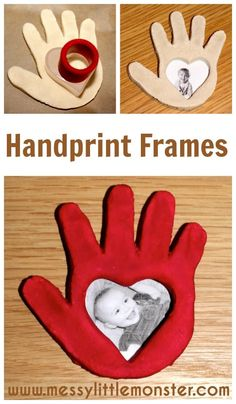 A simple Valentines day or Mothers day… Salt dough handprint frame instructions. A simple Valentines day or Mothers day craft for kids including babies, toddlers, preschoolers, eyfs. Kids Crafts, Mothers Day Crafts For Kids, Daycare Crafts, Fathers Day Crafts, Valentine Day Crafts, Baby Crafts, Preschool Crafts, Holiday Crafts, Kids Valentines