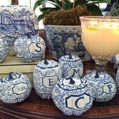 Chinoiserie blue and white pumpkins customized with each guests initial for table setting