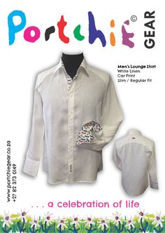Men's White 100% linen shirt with car print and embroidered detail on reverse