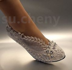 """97244 Wedding-Shoes-And-Bridal-Shoes 2"""" low heel Lace white light ivory crystal Wedding shoes Bridal pump size 5-12  BUY IT NOW ONLY  $36.99 2"""" low heel Lace white light ivory crystal Wedding shoes Bridal pump size 5-12..."""