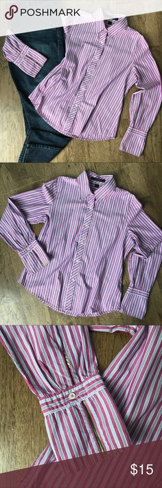 {Express} Pink & Blue Striped Button Down This gorgeous striped button down from Express has some amazing details! It has long cuffs on the end of each sleeve with a contrasting inner lining. Wear rolled up or down for a versatile look. It also has darts in the back to help with shape and make this a very nice fitted button down. Great with jeans for casual wear or with work slacks, you will be ready to go! Please see measurement chart for details. Express Tops Button Down Shirts