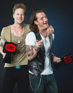 Brian Kelley and Tyler Hubbard of Florida Georgia Line pose at the 2014 CMT Music Awards