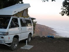 1991 Mitsubishi Delica L300 poptop  Directly about Big Sur, California on the coast mountain off of Nacimiento Road