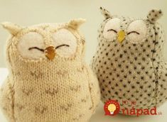 Upcycled Felted Wool Natural White Owl with Grey Spots - Stofftiere Softies, Fabric Crafts, Sewing Crafts, Alter Pullover, Craft Projects, Sewing Projects, Recycled Sweaters, Owl Always Love You, Owl Crafts