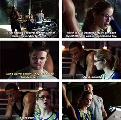 Olicity! My favorite scene!!! I love how he checks her roots after she says that.