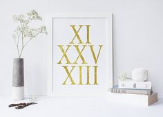 Art Print Custom Date Choose Your Date Typography Personalized Anniversary Gift Numbers,Custom Anniversary Roman Numerals gift for her,decor von sweetandhoneyprints auf Etsy
