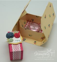 "Lots of fun gift boxes using Tanya's video on creating from 1 sheet of 12"" x 12"" DSP. ESAD 2013-14 Catalogue Blog Hop"