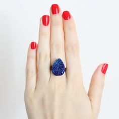 I love the cobalt blue with the orange polish!  #etsy #jewelry #druzy #drusy #fashion #statement #artist #hand