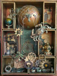 Steampunk shadow box I made using a TH shadow box kit and Steampunk Debutante papers from G45