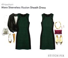 **FOR SALE** 3452-699 41Hawthorn Maxx Sleeveless Illusion Sheath Dress -Dark Green - M- $78 (Fix #8 - Kimberly - kept all but this is unworn, NWT and available for sale 25% off + shipping.)
