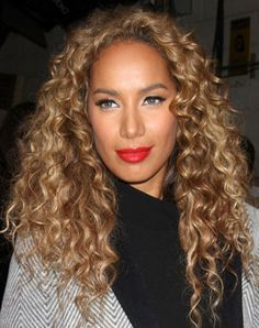 Leona Lewis' Long Corkscrew Middle Part Hairstyle