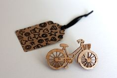 Wooden Bicycle Brooch. laser cut from sustainable birch wood.