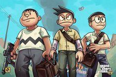 Doraemon characters, three boys anime character digital wallpaper HD wallpaper - GTA CS GO and Rocket League
